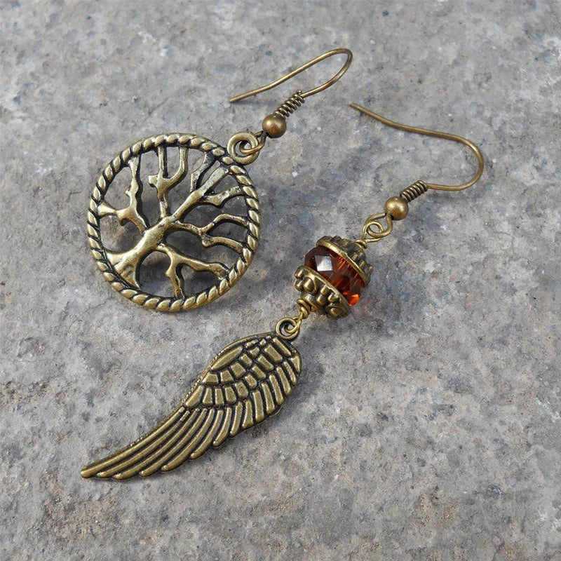 Earrings - Tree Of Life And Feather Mismatched Earrings, Topaz Color