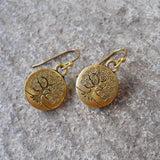 Earrings - Tree Of Life Earrings In Antique Gold