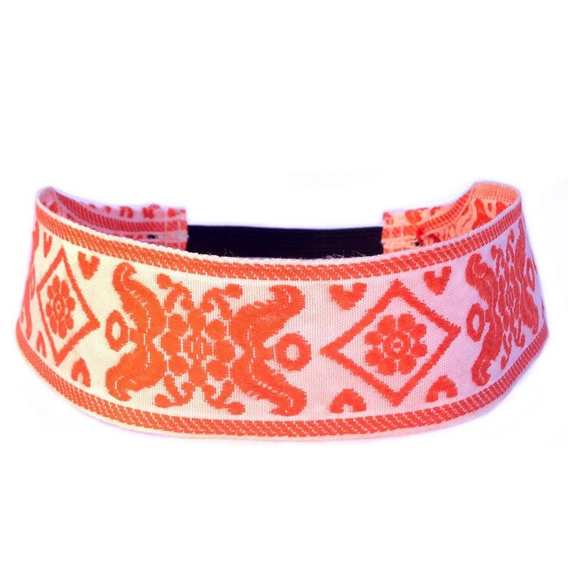 Headbands - Maroque, White And Orange Headband