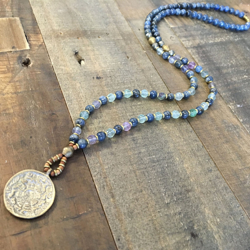 Kyanite and Fluorite 'Tranquility and Cleansing' Beaded Necklace with Tibetan Pendant, 108 Bead Mala