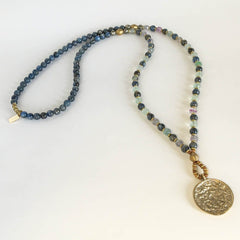 Kyanite and Flourite 'Tranquility and Cleansing' beaded necklace with Tibetan pendant, 108 bead mala