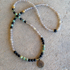 Necklaces - 108 Bead Mala, Grey Agate And African Turquoise Wrap Bracelet Or Necklace