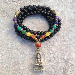 Necklaces - 108 Bead Mala, Multicolor Gemstone Chakra Convertible Necklace With Buddha Pendant