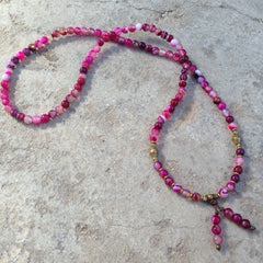 Necklaces - 108 Bead Mala Pink Agate Wrap Bracelet Or Necklace