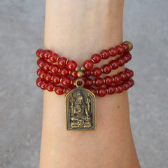 Necklaces - 108 Bead Mala Red Carnelian Wrap Bracelet Or Necklace With Shiva Pendant