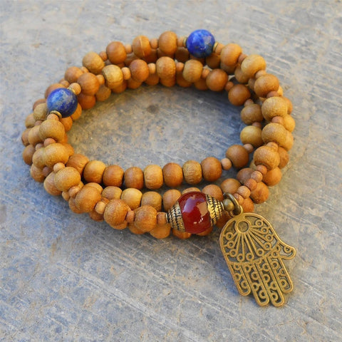 108 bead sandalwood prayer beads and carnelian guru bead and hamsa, necklace or wrap bracelet