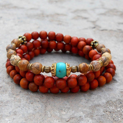 108 bead wood and jasper wrap bracelet or necklace