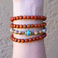 Necklaces - 108 Bead Wood And Jasper Wrap Bracelet Or Necklace