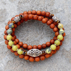 Necklaces - 108 Bead Wood And Yellow Jasper Wrap Bracelet Or Necklace