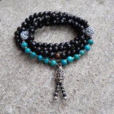 Necklaces - 108 Bead Yoga Mala Necklace Or Bracelet, Ebony Prayer Beads, Genuine Turquoise Gemstone
