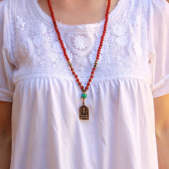 Necklaces - 108 Mala Carnelian Beads, With A Tibetan Capped Turquoise Bead And Shiva Pendant