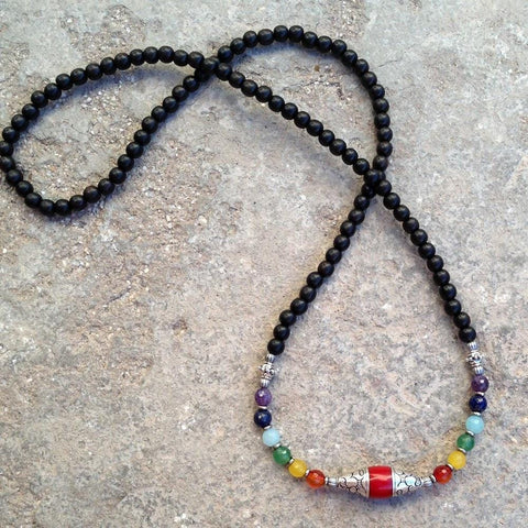 108 multicolor gemstone Chakra convertible necklace
