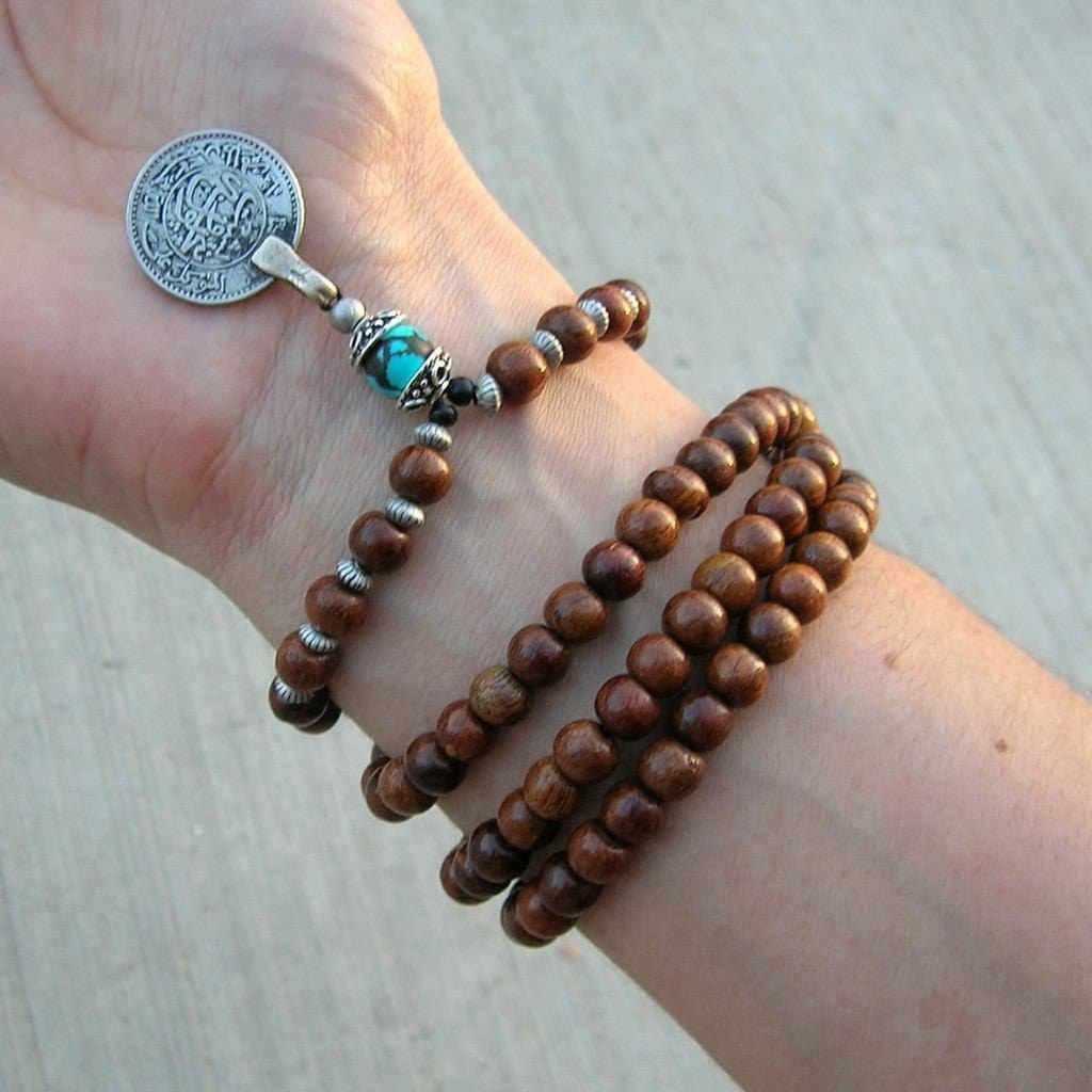 Necklaces - 108 Wood Prayer Beads And Turquoise Gemstone With Vintage Coin Pendant, Wrap Bracelet Or Necklace
