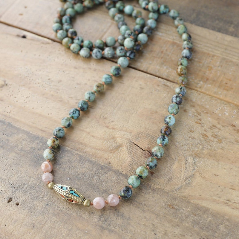 Necklaces - African Turquoise And Sunstone Hand Knotted Mala Necklace