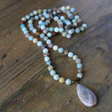 Necklaces - Amazonite And Sunstone Hand Knotted Mala Necklace