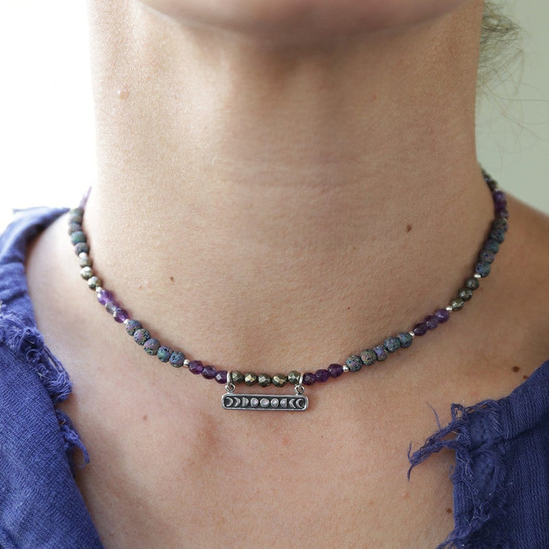 Necklaces - Amethyst Moon Phase Aromatherapy Choker