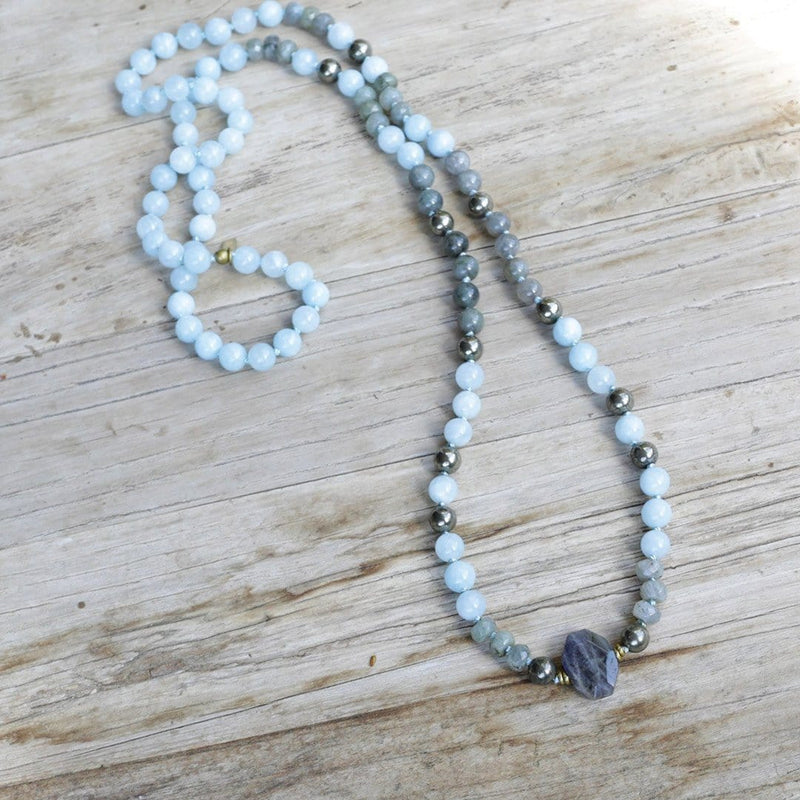 Necklaces - Aquamarine Hand Knotted Mala Necklace