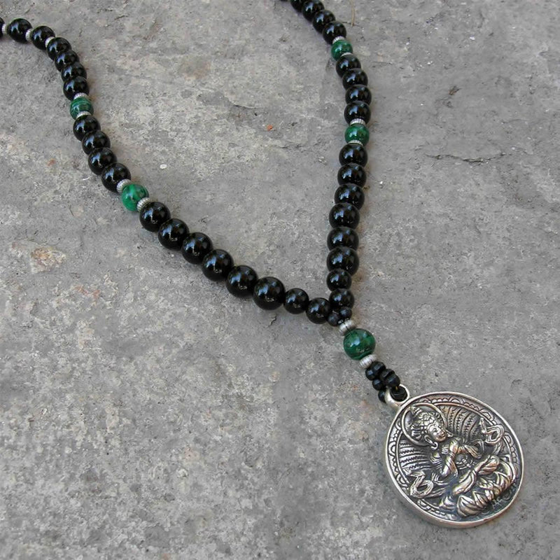 Necklaces - Buddha, Genuine Onyx Malachite Gemstone Necklace With Buddha Pendant