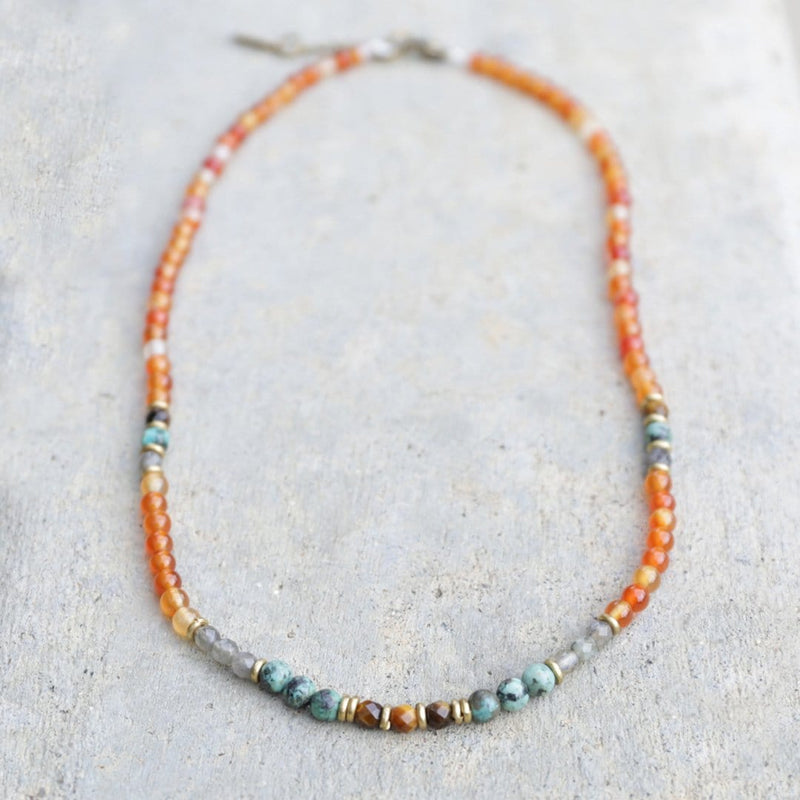 Necklaces - Carnelian And African Turquoise Delicate Necklace