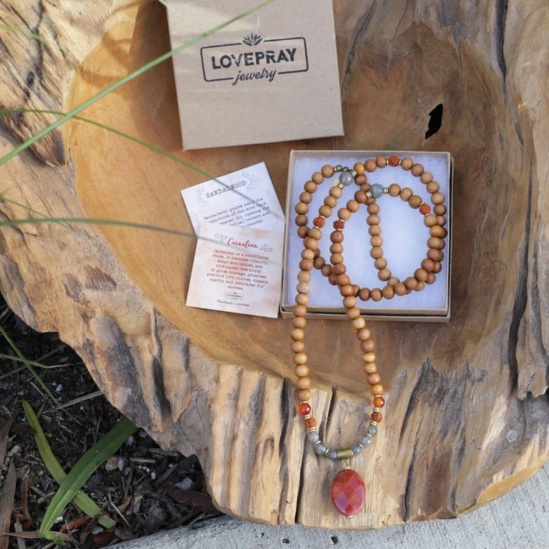 Necklaces - Carnelian And Sandalwood 'Serendipity And Motivation' Mala Necklace