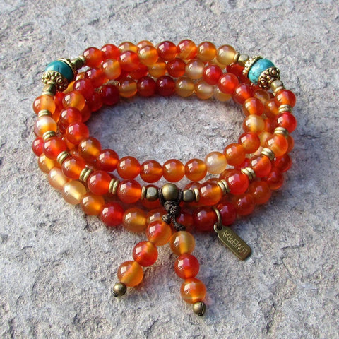 Carnelian and turquoise gemstone mala 108 bead wrap bracelet