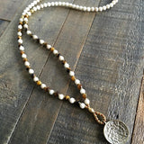 Necklaces - Change And Prosperity, Riverstone And Tigers Eye Mala Necklace With Tibetan Calendar Pendant