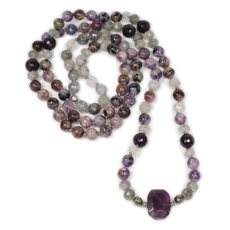 Necklaces - Charoite, Cloudy Quartz, And Amethyst Hand Knotted Mala Necklace