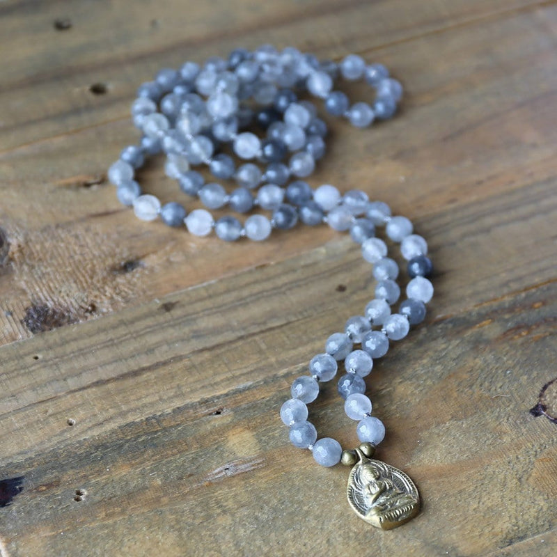 Necklaces - Cloudy Quartz Hand Knotted Mala Necklace