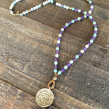 "Necklaces - ""Communication And Healing"" Throat Chakra Mala Necklace, Amazonite And Amethyst"