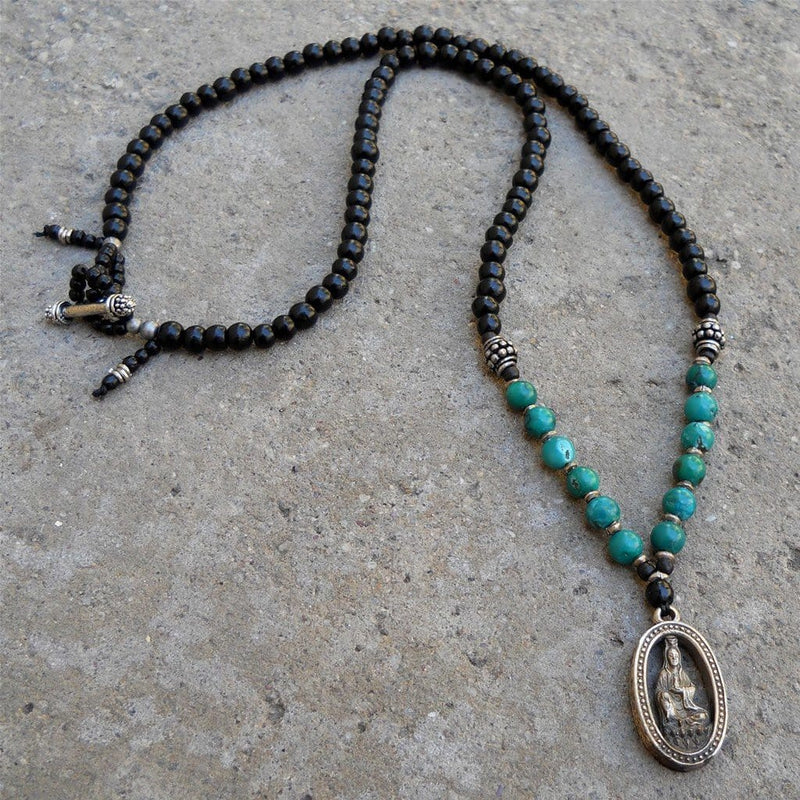 Necklaces - Compassion - 108 Bead Ebony And Genuine Turquoise Quan Yin Pendant Necklace