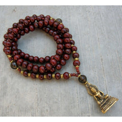 Necklaces - Compassion Buddha, Rosewood And Smokey Quartz 108 Bead Convertible Mala Necklace