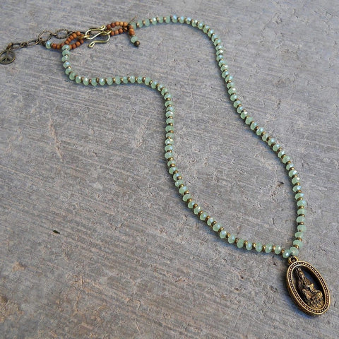 compassion - green crystal and African trade beads necklace with Quan Yin pendant