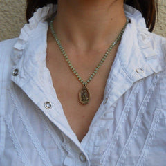 Necklaces - Compassion - Green Crystal And African Trade Beads Necklace With Quan Yin Pendant