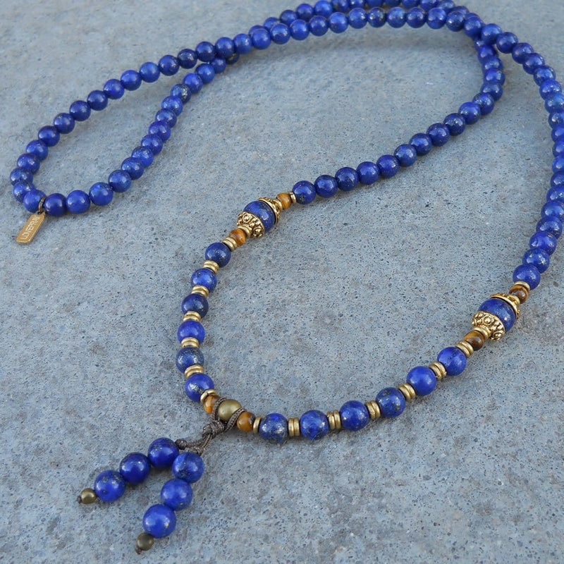 Necklaces - Compassion, Lapis Lazuli Gemstone 108 Bead Mala Convertible Necklace