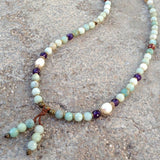 Necklaces - Confidence And Healing, Genuine Multi Color Amazonite, Amethyst And Pearl 108 Bead Mala Necklace