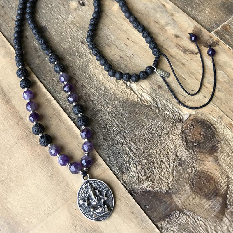 Necklaces - Crown Chakra Aromatherapy Mala Necklace With Ganesh Pendant