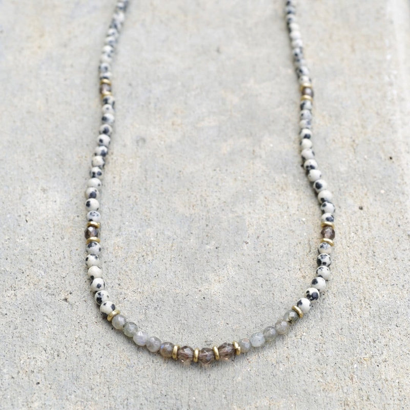Necklaces - Dalmatian Jasper, Smoky Quartz And Labradorite Necklace