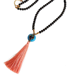 Necklaces - Ebony, Hand Made Silk Tassel, And Tibetan Guru Bead 108 Bead Mala Necklace