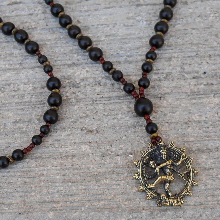 Necklaces - Eternal Energy - Genuine Ebony and Rosewood with Pendant Of Natraj