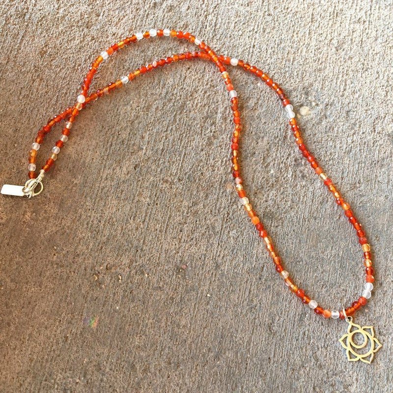 Necklaces - Fine Faceted Carnelian And Sterling Silver 'Sacral Chakra' Pendant Necklace