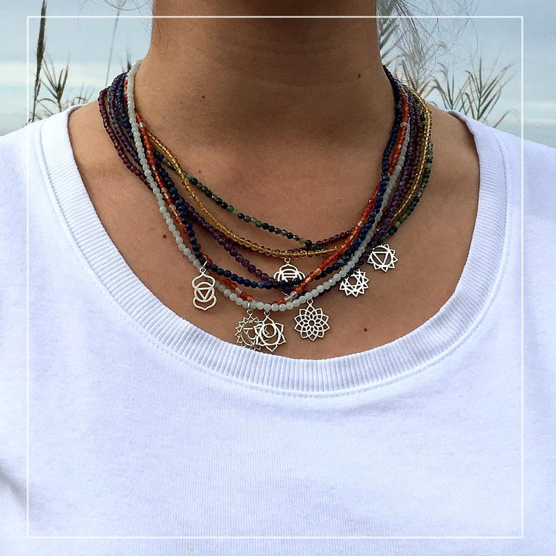 Necklaces - Fine Faceted Garnet And Sterling Silver Root Chakra Pendant Necklace