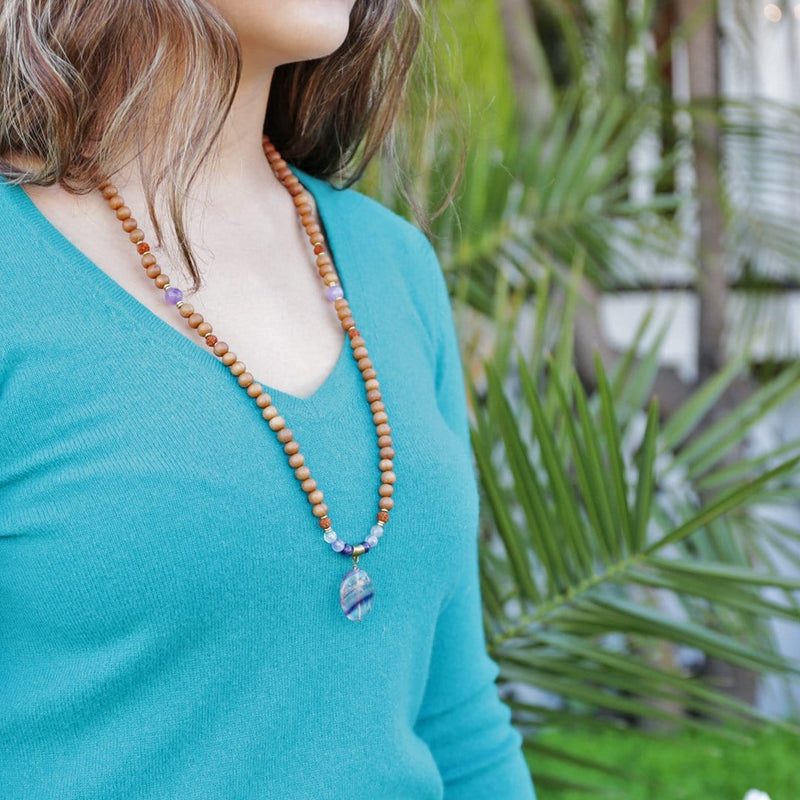 Necklaces - Fluorite And Sandalwood 'Healing And Clarity' Mala Necklace
