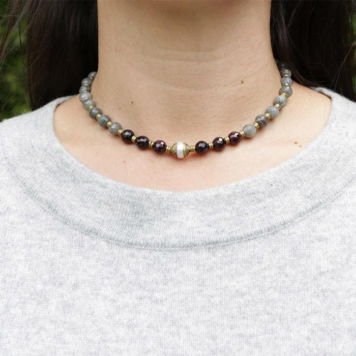 "Necklaces - Garnet And Labradorite ""Love And Serendipity"" Mala Choker"
