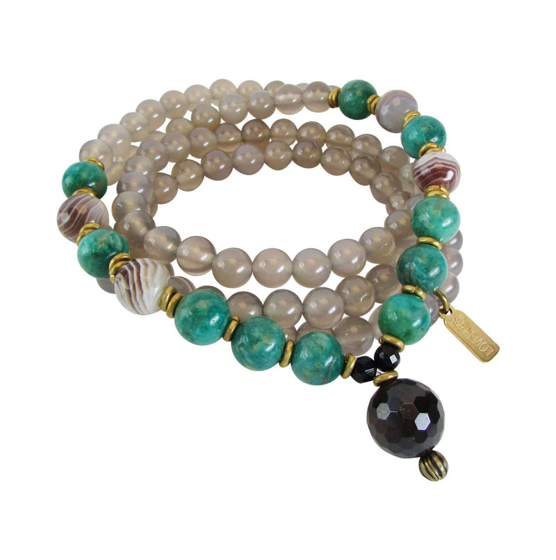 "Necklaces - Grey Agate, Green Amazonite, And Garnet ""Love And Calm""  Yoga Mala Beads"