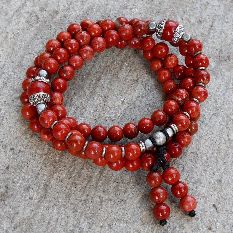 Necklaces - Grounding, 108 Bead Mala Red Jasper Wrap Bracelet Or Necklace