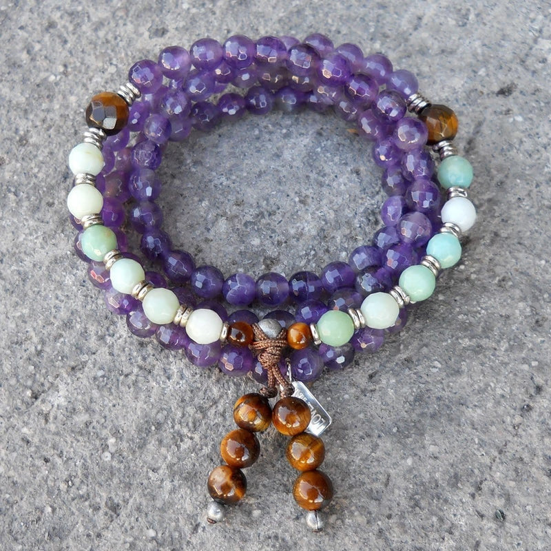 Necklaces - Healing, 108  Mala Bead Amethyst, Tiger's Eye And Amazonite Wrap Bracelet Or Necklace