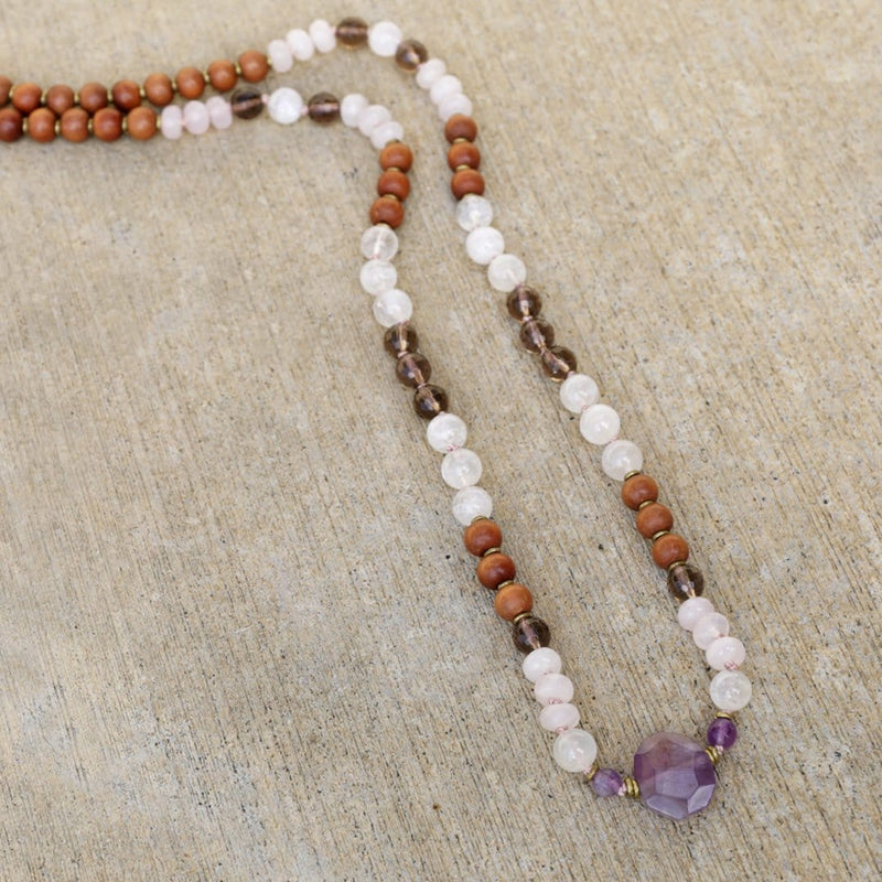 Necklaces - Healing And Intuition, Sandalwood And Moonstone Hand Knotted Mala Necklace