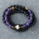 Necklaces - Healing And Strength, 108 Bead Ebony And Amethyst Necklace With Tibetan Pearl Guru Bead
