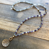 Necklaces - Healing, Cloudy Rock Quartz And Amethyst Mala Necklace With Tibetan Calendar Pendant