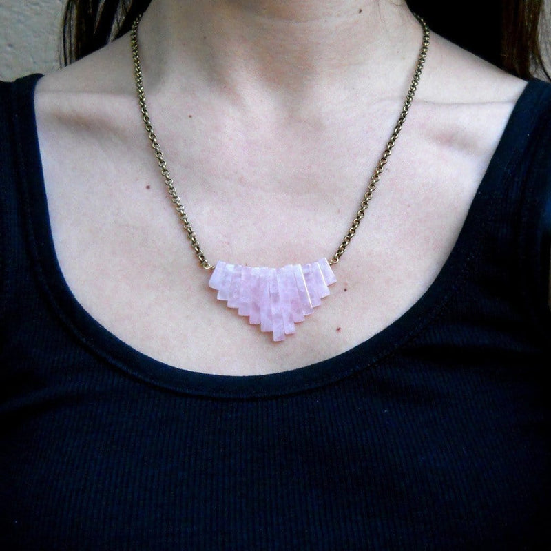 Necklaces - Healing, Pink Quartz Chain Necklace